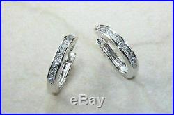 0.50 Ct Channel Set Diamond Half Hoop Earrings 14K White Gold GP Perfect Gift