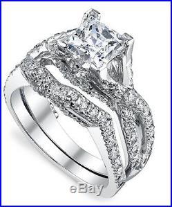 0.57 Ct Real Moissanite Rings Set Pure 14k White Gold Women's Wedding Band Sets