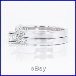 0.70 CTW 100% REAL ROUND CUT DIAMOND Bridal Set PURE White Gold 18KT I/SI1