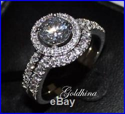 1.20 Crt Round Designer Sapphire and Diamond Halo Wedding Ring Set Pure 14k Gold