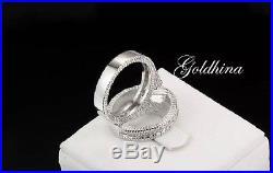 1.20ct White D/VVS1 Diamond Bridal Set Engagement/Wedding 14k White Pure Gold