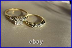 1.45 TCW Diamond Ladies Vintage Wedding Set 14K Pure Yellow Gold Over SZ 5 to 12