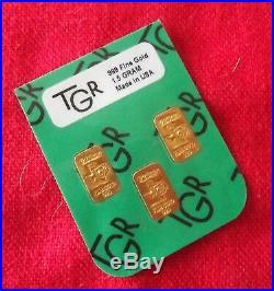 1. 5 Gram Gold Bars 24k Pure Tgr Bullion 999.9 The Super Preppers Combo Set
