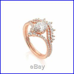 1.50 Carat Pear Cut Diamond Crown Bridal Engagement Ring Set 10K Rose Pure Gold