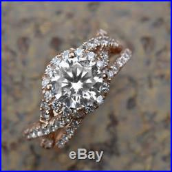 1.51 Ct Halo Bridal Set Engagement Ring In Pure 14K Rose Gold Finish
