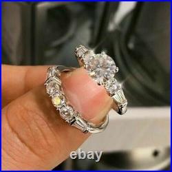 1.7 Ct Round Cut Moissanite Perfect Wedding Fancy Bridal Set Ring 14K White Gold