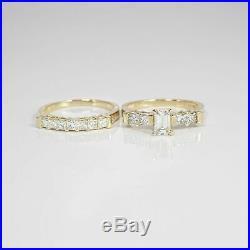 1.95 CTW REAL EMERALD CUT DIAMOND Bridal Set PURE Yellow Gold 18KT I/SI1, RETAIL
