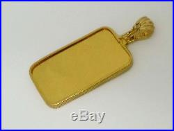 1 Toy Ounce Credit Suisse. 999 Pure Gold Bullion Bar Coin Edge Pendant Bezel Set