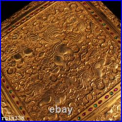 10 China Qing Dynasty Pure copper gilt silver carving set Gem Jewelry box