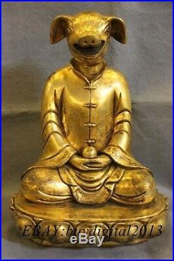 10 Chinese Pure Bronze 24K Gold twelve zodiac 12 animals Dragon Statue Set