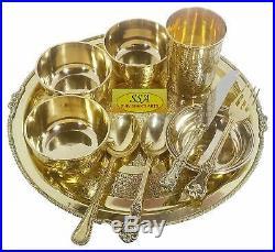 10 Pcs Pure Brass Luxury Dinner Set Antique Design Plate Bowl Spoon Glass Fork