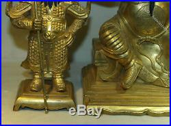 10 Tibet Pure Bronze 24K Gold Guan Yu Guan Ping Zhou Cang 3 Mammon Statue Set