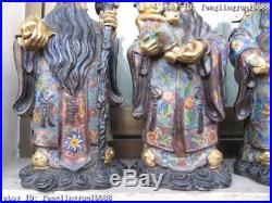 100% Pure Bronze 24K Gold Gild cloisonne 3 Longevity God Fukurokuju Buddha Set