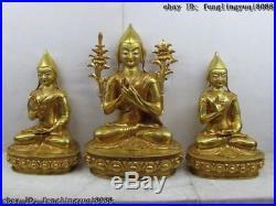 100% Pure Bronze Copper 24K Gold Gild Tsong-kha-pa Tsongkhapa Buddha Statue Set
