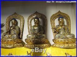 100% Pure Bronze cloisonne 24K Gold Three Tathagata Sakyamuni Buddha Statue set