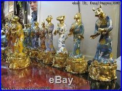100% Pure Bronze cloisonne 24K Gold royal Palace Sign twelve Zodiac Statue Set