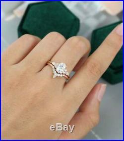 10K Pure Rose Real Gold Wedding Engagement Band Ring Set OVAL White Diamond