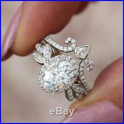 10K Pure White REAL Gold Oval White Diamond Engagement & Wedding Bridal Ring Set