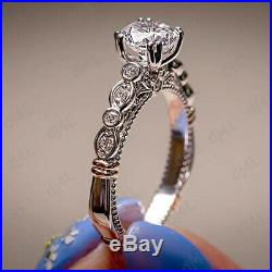 10K Real White Pure Gold 2.00ct Round Diamond Women's Engagement Ring Bridal Set