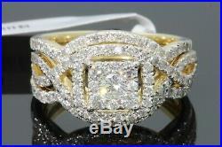 10K Real Yellow Pure Gold Round Cut Diamond Women's Engagement Ring Bridal Set