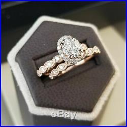10k REAL Rose Pure Gold Diamond Engagement Wedding Bridal Ring Band Set 1.50 Ct