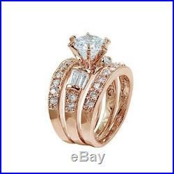 10k REAL Rose Pure Gold Diamond Engagement Wedding Bridal Ring Band Set 3pcs