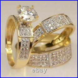 10k REAL Yellow Solid Pure Gold Diamond Engagement Wedding Bridal Trio Ring Set