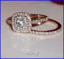 10k Real Rose Pure Gold 1.50 Carat White Diamond Ladies Engagement Ring Band Set
