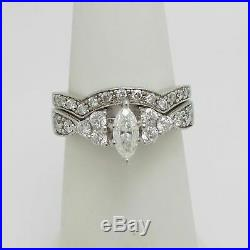 10k Real White Pure Gold Band Engagement Wedding Ring Set Marquise Cut Diamond