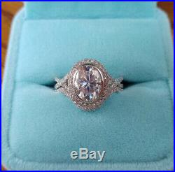 10k Real White Pure Gold Oval 4 Ct Diamond Engagement Wedding Band Ring Set