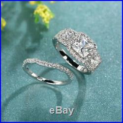 10k Real White Pure Gold Princess 4 Ct Diamond Engagement Wedding Band Ring Set