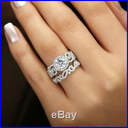 10k Real White Pure Gold Round 2.50 Ct Diamond Engagement Wedding Band Ring Set