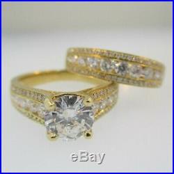 10k Real Yellow Pure Gold Round 2.50 Ct Diamond Engagement Wedding Band Ring Set