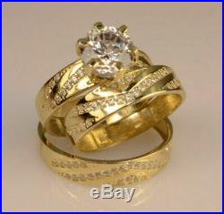 10k Real Yellow Pure Gold Round Cut Diamond Trio Bridal Band Engagement Ring Set