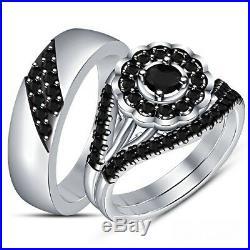 10k White Gold Plated Pure 925 Silver Black Diamond Men's Women's Trio Ring Set