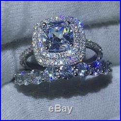 10k White Pure Gold Cushion Cut Diamond Women's Bridal Band Engagement Ring Set