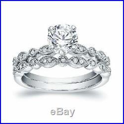 10k White Pure Gold Diamond 2 Ct Wedding Band Set Women's Engagement Ring