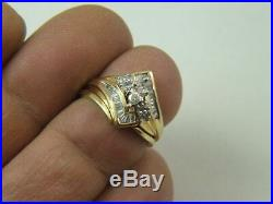 10k Yellow Real Pure Gold Diamond Wedding Band Set Ladies Engagement Ring