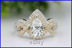 10k Yellow White Pure Real Gold Pear Diamond Bridal Set Wedding Engagement Ring