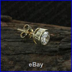 10kt Real Yellow Pure Gold 0.50 Carat Round Diamond Bezel Set Mens Stud Earring