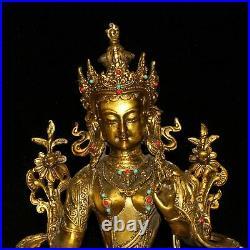 11.2 China Pure copper set Gem Cloisonne Pinching silk Green Tara Buddha statue