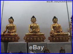 11Tibet Buddhism Pure Bronze 24K Gold Gilt Three Shakyamuni Buddha statue set