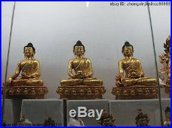 11Tibet Buddhism Pure Bronze 24K Gold Gilt Three Shakyamuni Buddha statue set