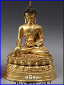 12 Tibetan Pure Bronze 24K Gold Sakyamuni Shakyamuni Tathagata Buddha Statue Set