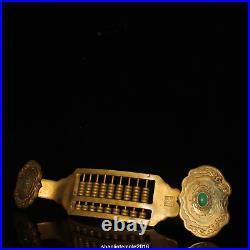 13.6 China antique set gemstone Gold plating of pure copper Ruyi Abacus