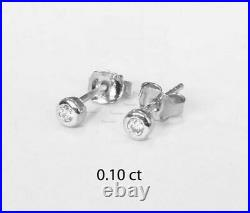 14K Gold 0.10 Ct. Solitaire Bezel Set Diamond Classic Wedding Mini Studs