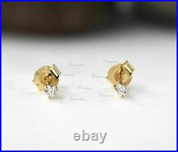 14K Gold 0.10 Ct. Solitaire Three Prong Set Diamond Classic Wedding Stud