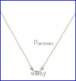 14K Gold 0.20 Ct. Three Bezel Set Diamond Classic Pendant Necklace