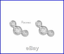 14K Gold 0.23 Ct. Bezel Set Three Diamond Mini Stud Earring Fine Jewelry
