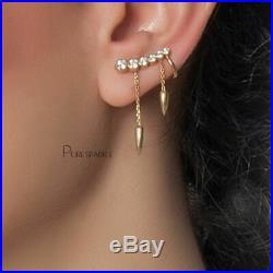 14K Gold 0.56 Ct. Bezel Set Diamond Unique Ear Cuff Earring Fine Jewelry